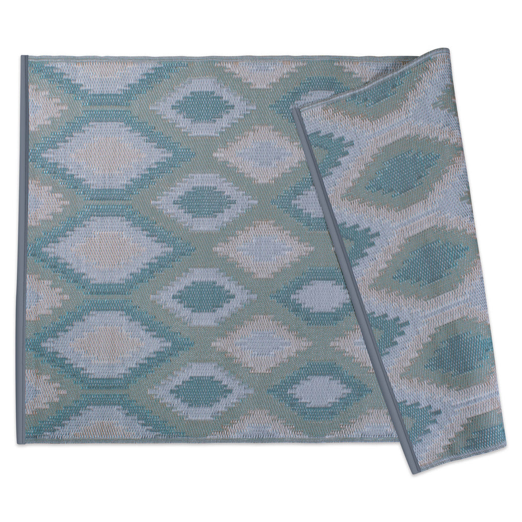 Green Ikat Outdoor Rug 4x6 Ft