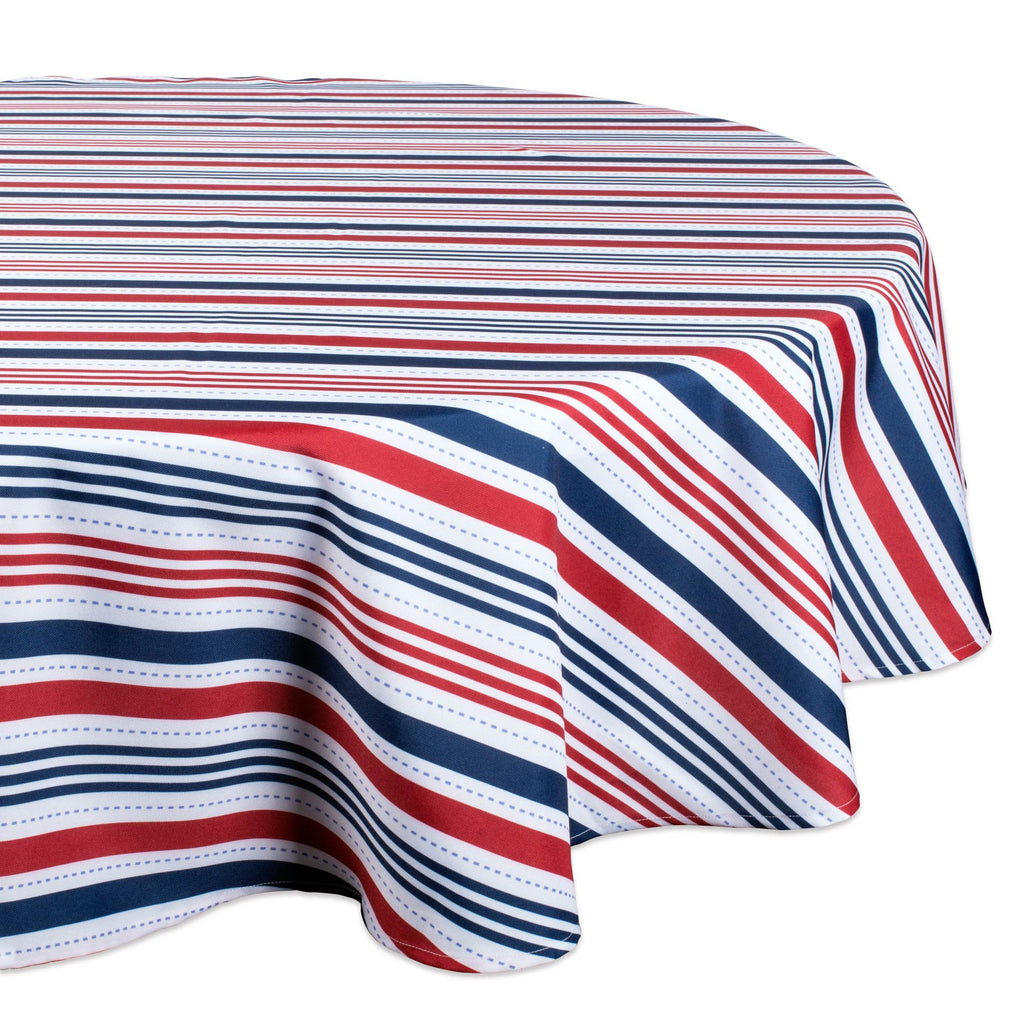 Patriotic Stripe Outdoor Tablecloth 60 Round