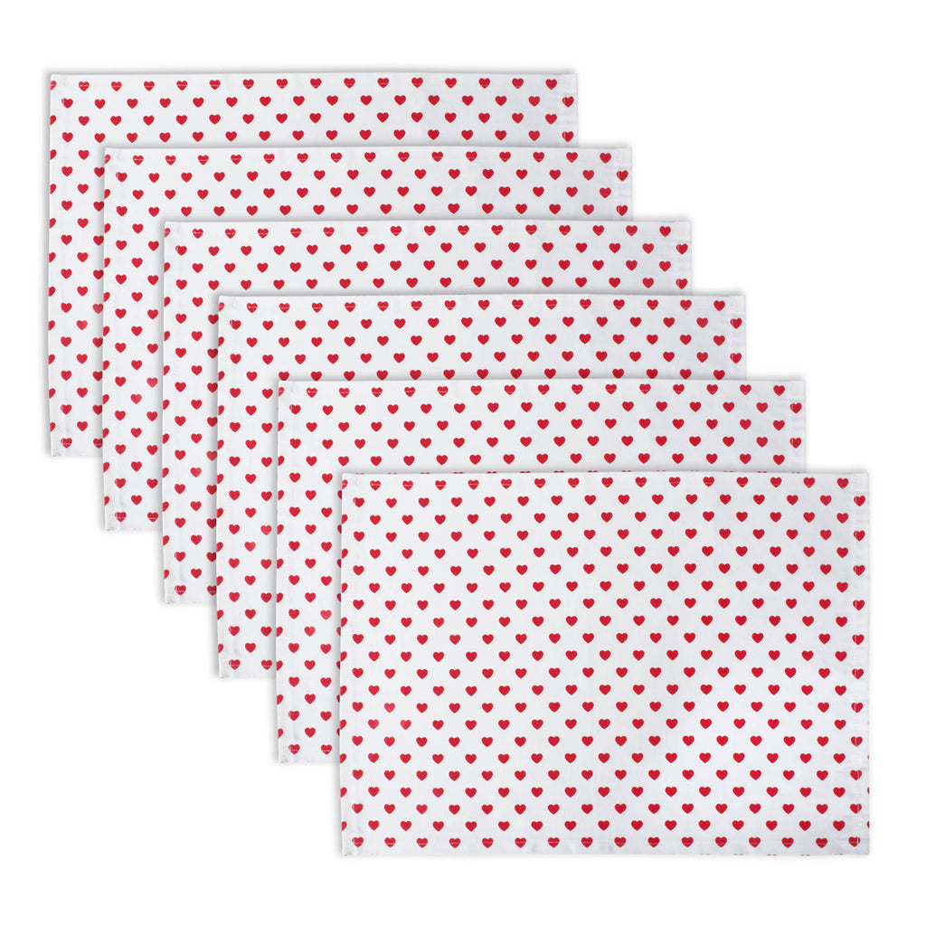 Lil Hearts Ribbed Placemats Set/6