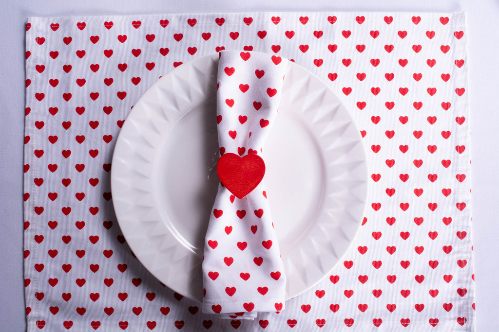 DII Lil Hearts Ribbed Placemats (Set of 6)