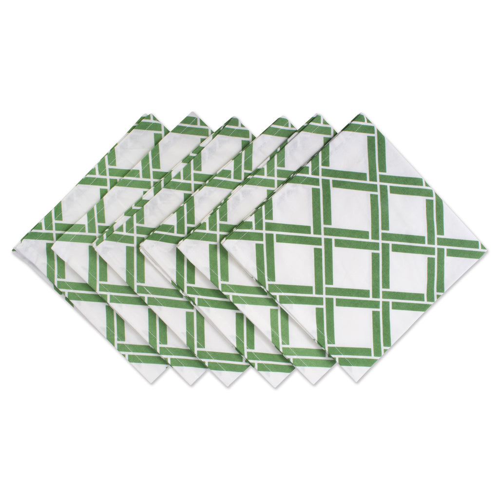 Bamboo Lattice Print Napkin Set/6