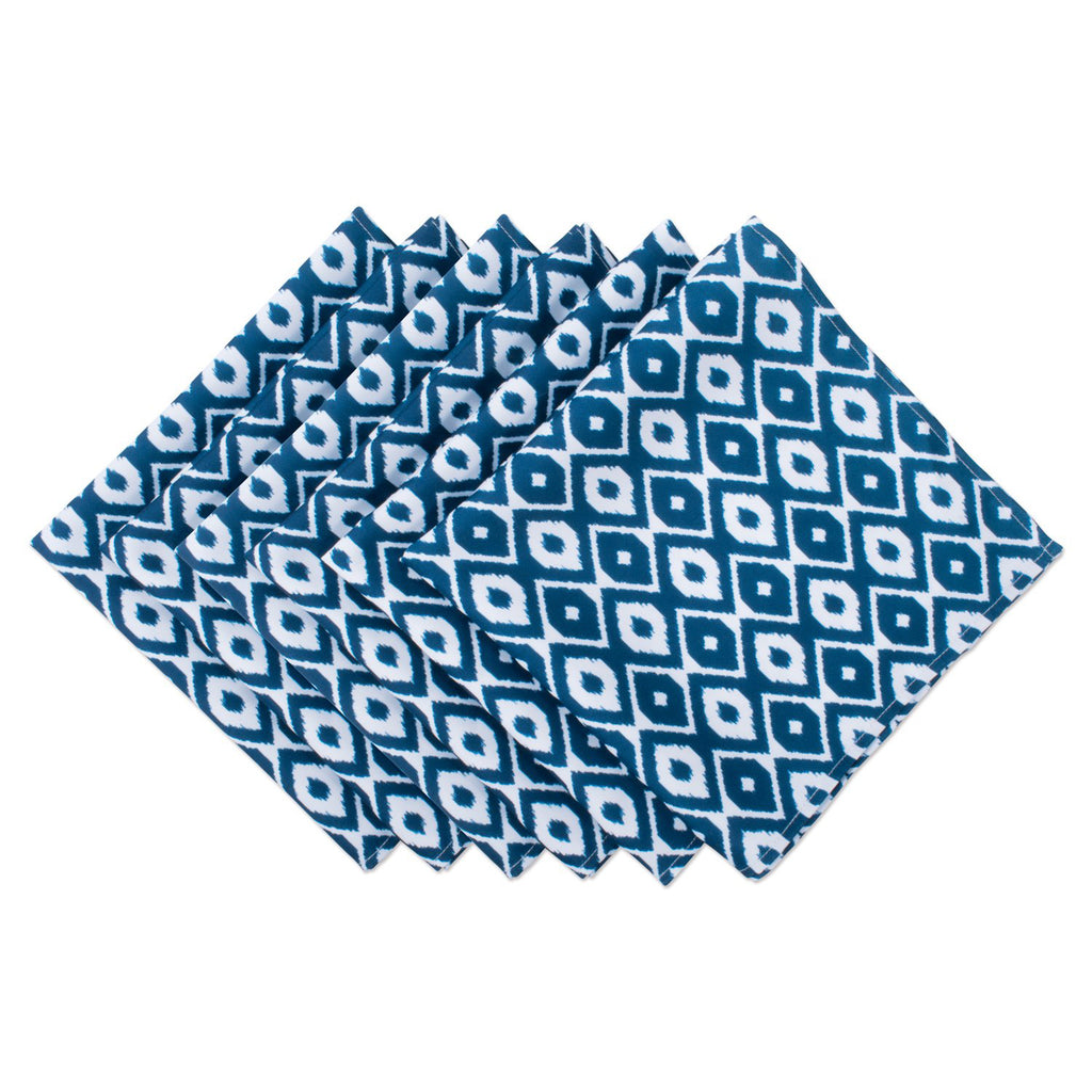 Blue Ikat Print Outdoor Napkin Set/6