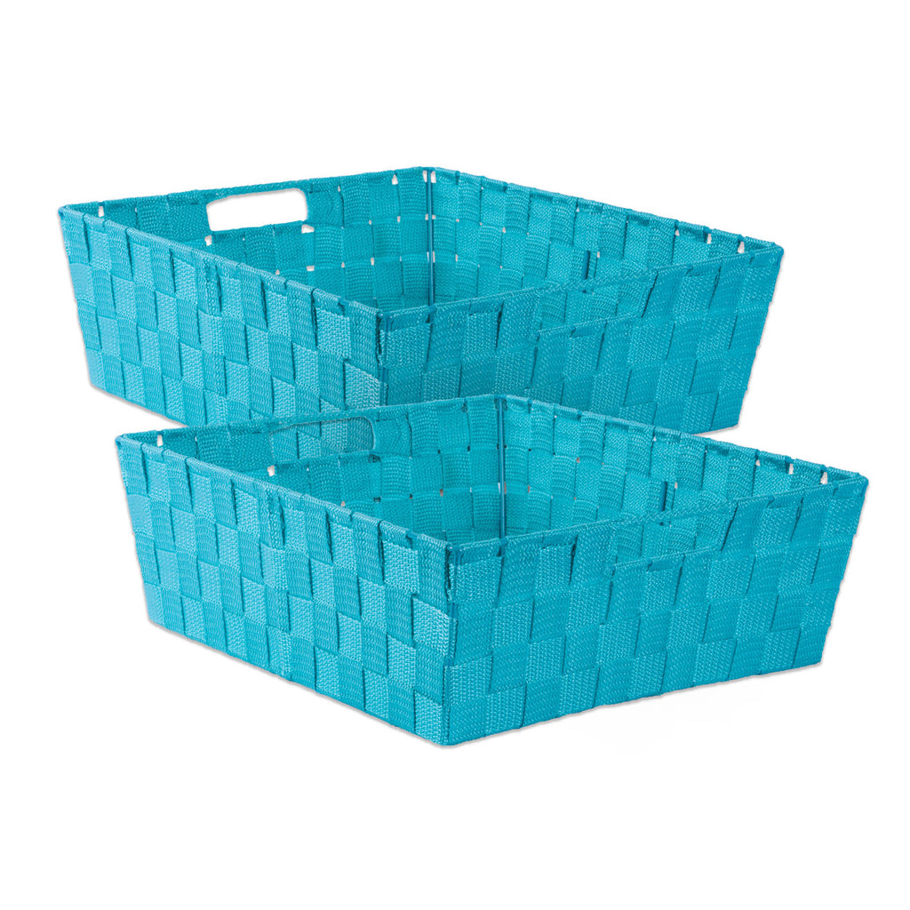 Nylon Bin Basketweave Teal Trapezoid 13x15x5 Set/2