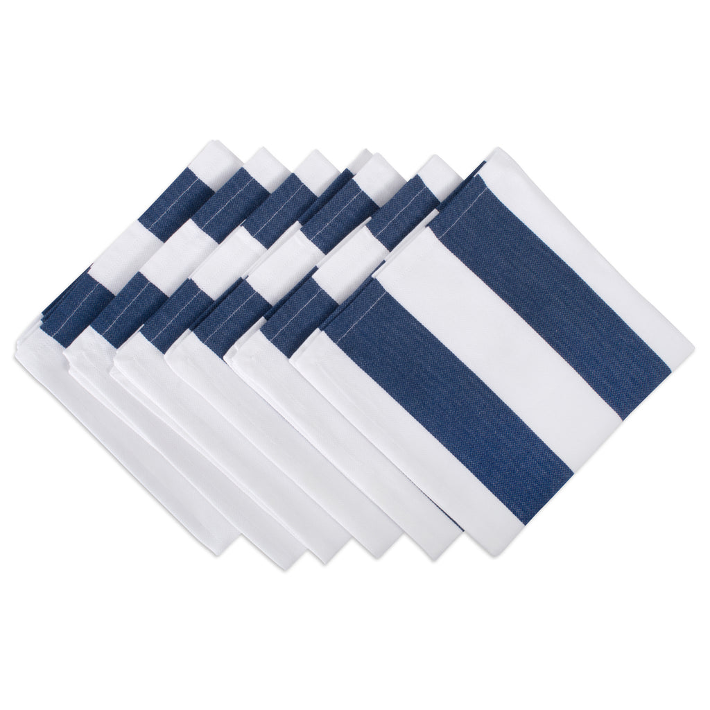 Navy/White Dobby Stripe Napkin Set/6