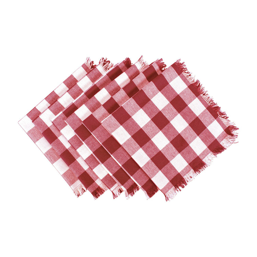 Wine Heavyweight Check Fringed Napkin Set/6