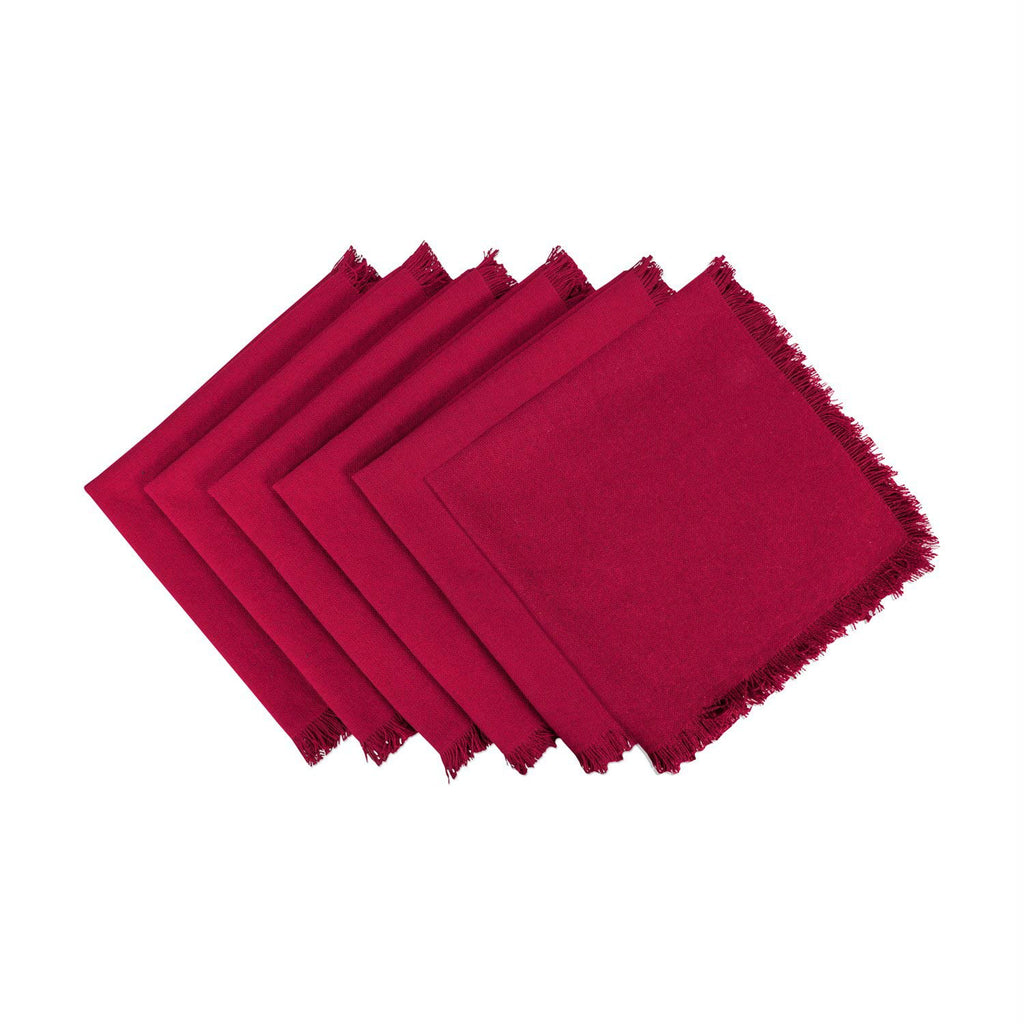 Solid Wine Heavyweight Fringed Napkin Set/6