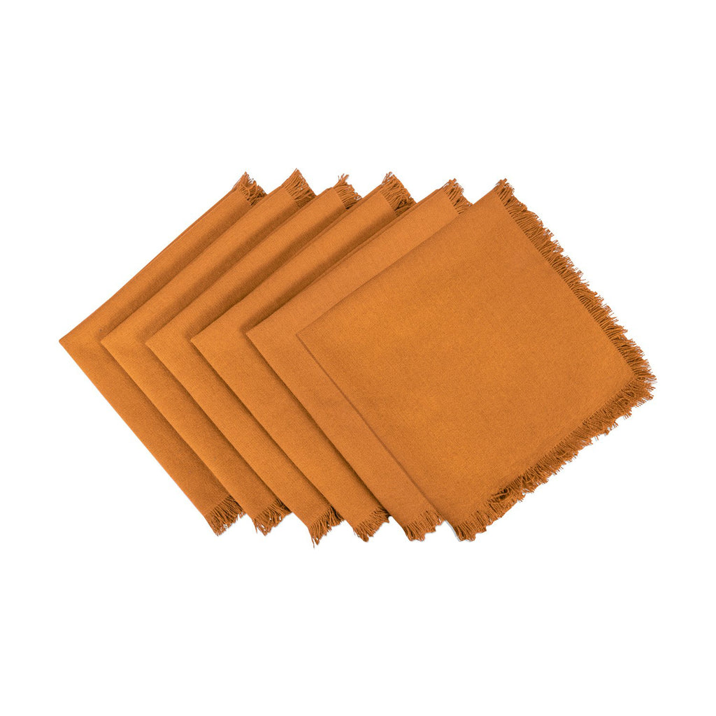 Solid Pumpkin Spice Heavyweight Fringed Napkin Set/6
