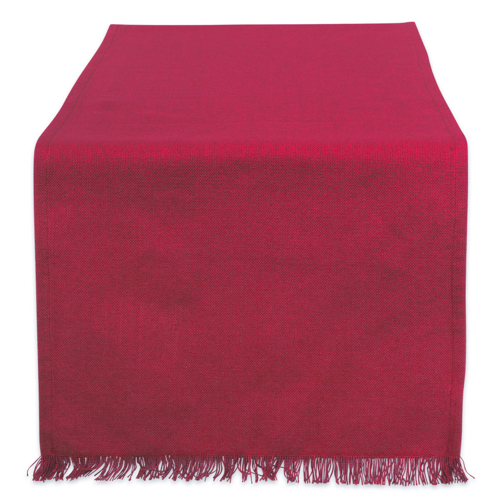Solid Wine Heavyweight Fringed Table Runner 14x108