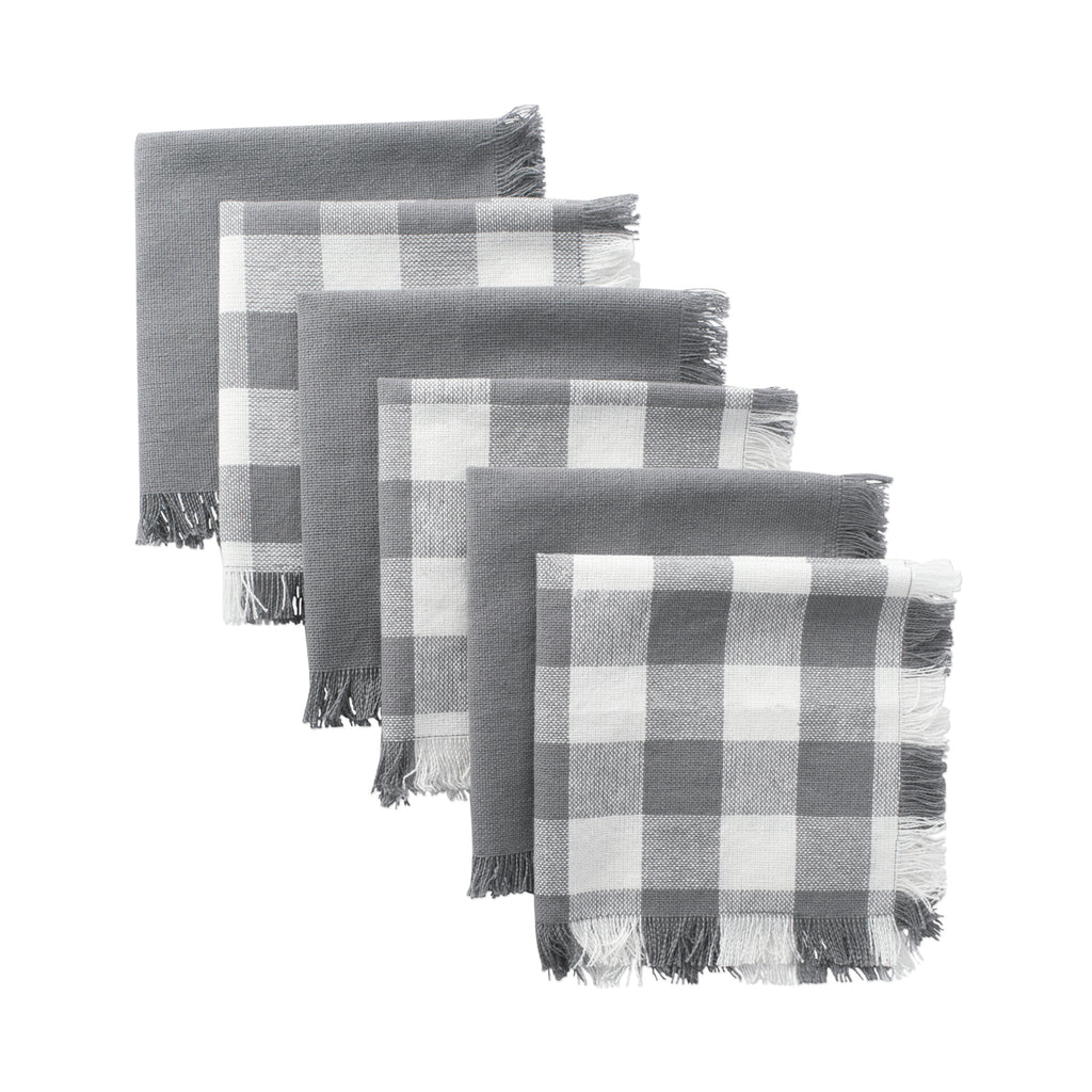 Asst Gray Heavyweight Fringed Dishcloth Set/6