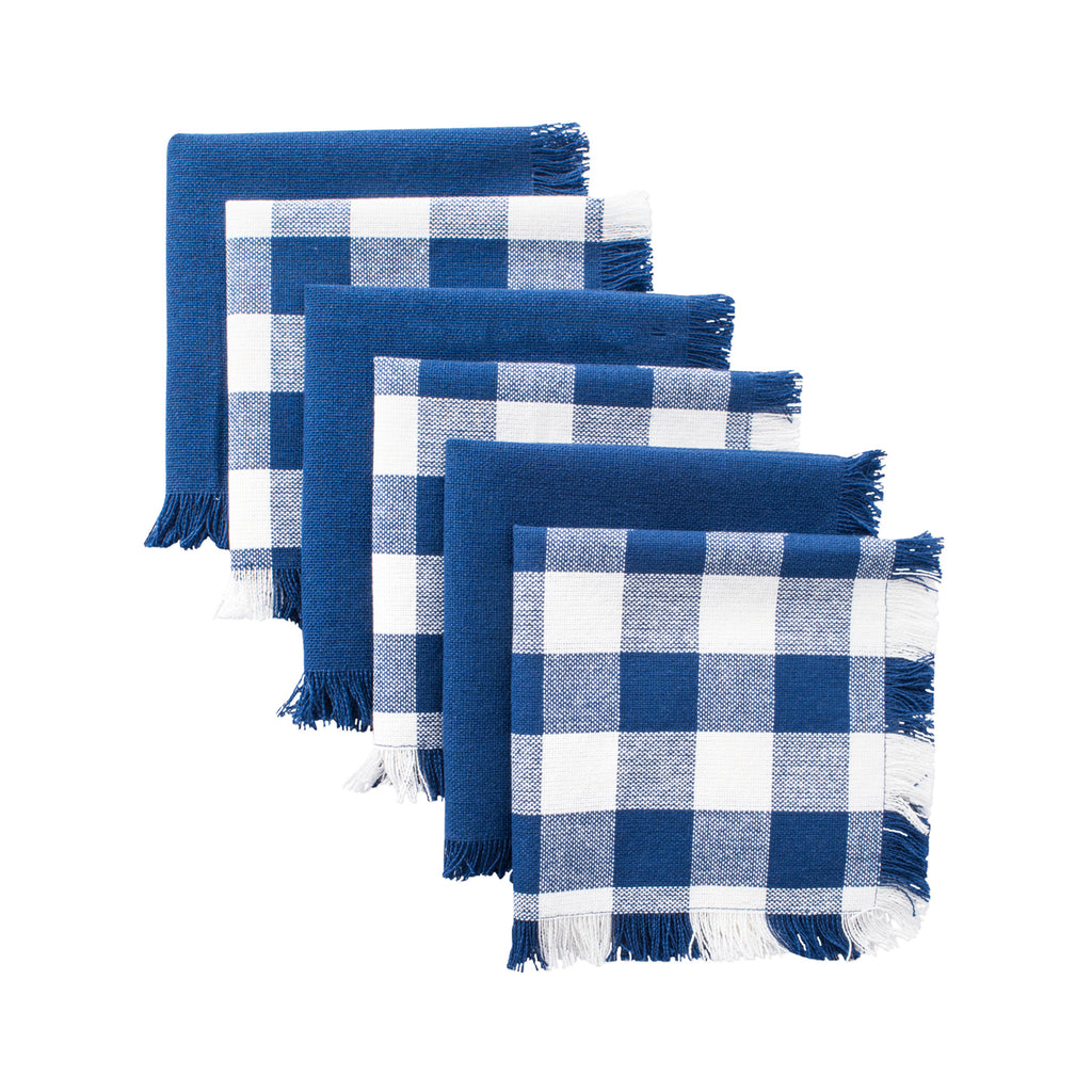 Asst Navy Heavyweight Fringed Dishcloth Set/6