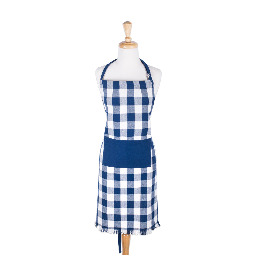 DII Navy Heavyweight Check Fringed Chef Apron