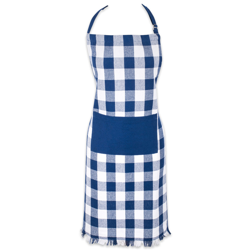 Navy Heavyweight Check Fringed Chef Apron
