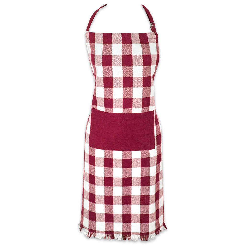 Wine Heavyweight Check Fringed Chef Apron