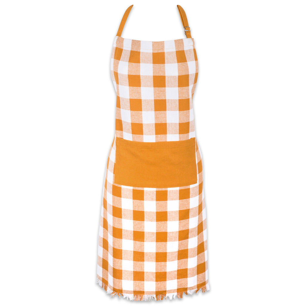 Pumpkin Spice Heavyweight Check Fringed Chef Apron