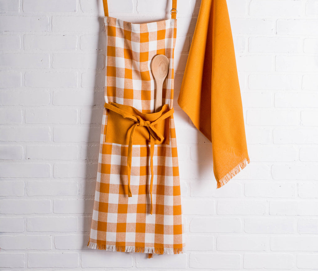 DII Pumpkin Spice Heavyweight Check Fringed Chef Apron