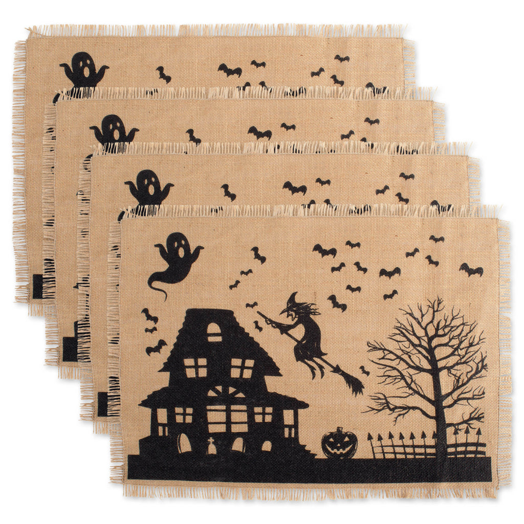Haunted House Burlap Placemat Set/4