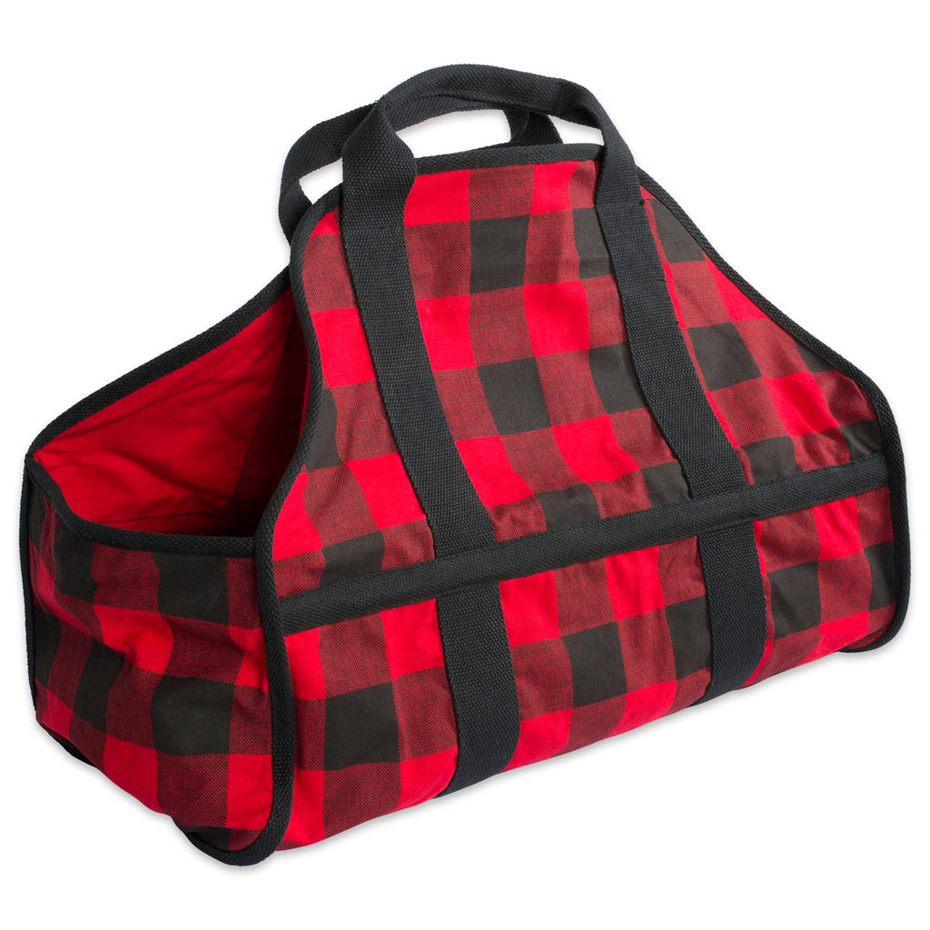 Red Buffalo Check Firewood Tote