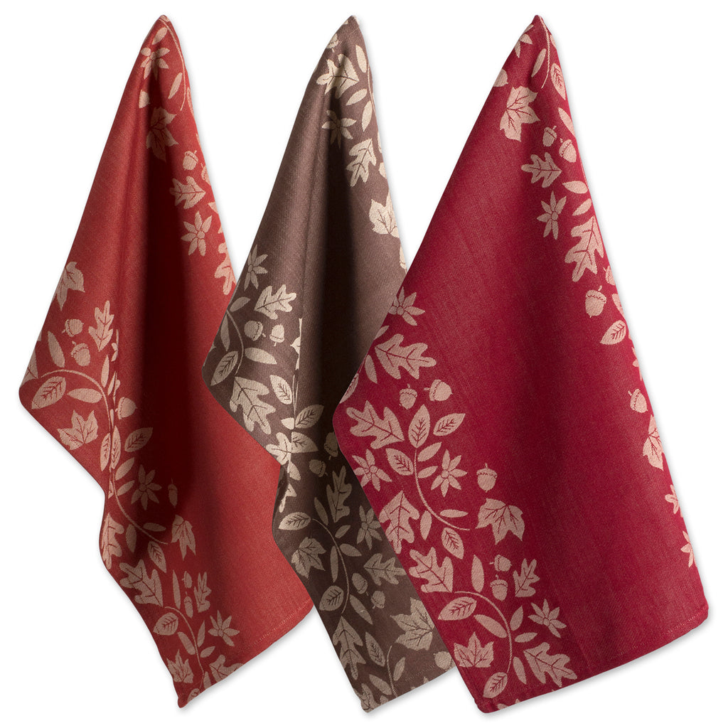 Asst Fall Harvest Vine Jacquard Dishtowel Set/3