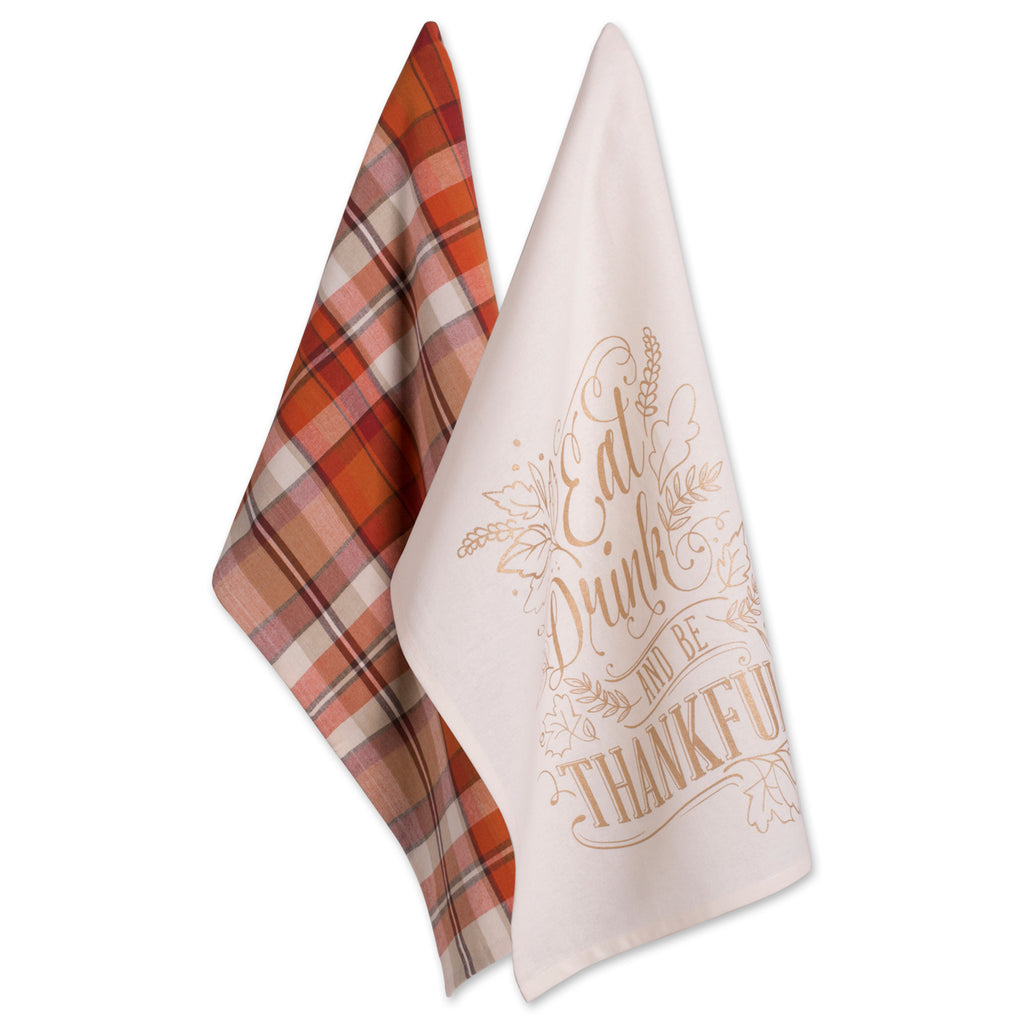 Asst Check Fall Be Thankful Printed Dishtowel Set/2