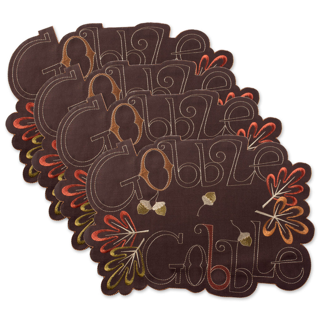 Gobble Gobble Embroidered Placemat Set/4