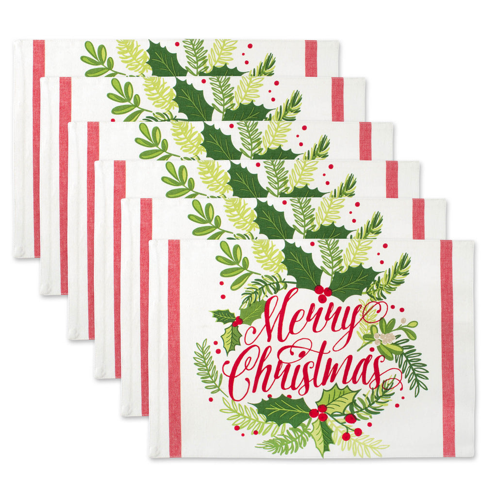 Merry Christmas Print Placemat Set/6