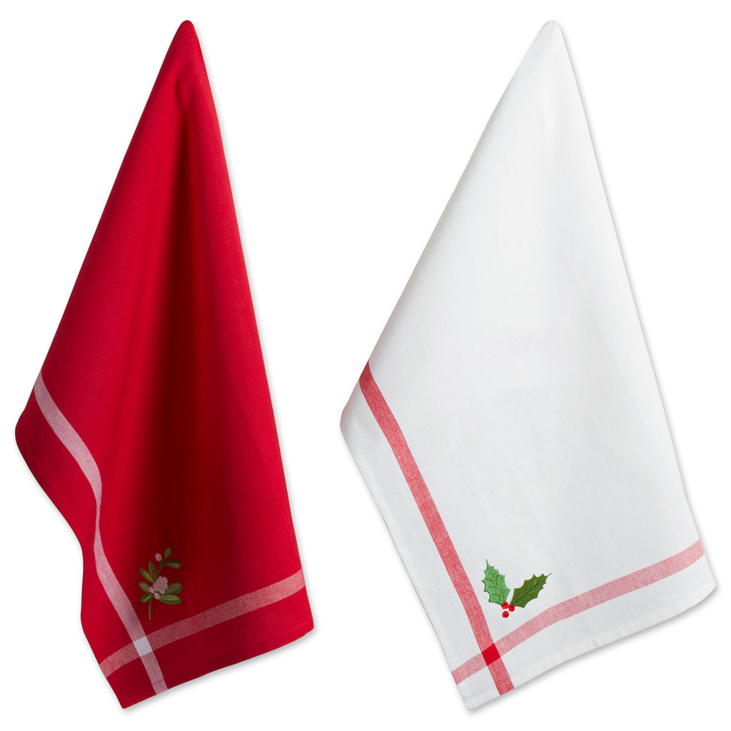 Red/White Stripe Holly & Mistletoe Holiday Embroidered Dishtowel Set/2