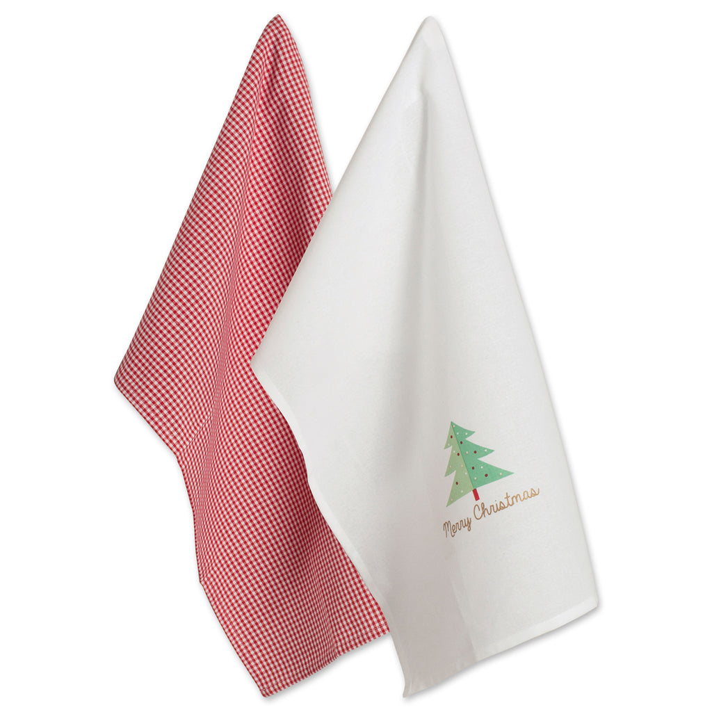 Red Check & White Merry Christmas Dishtowel Set/2