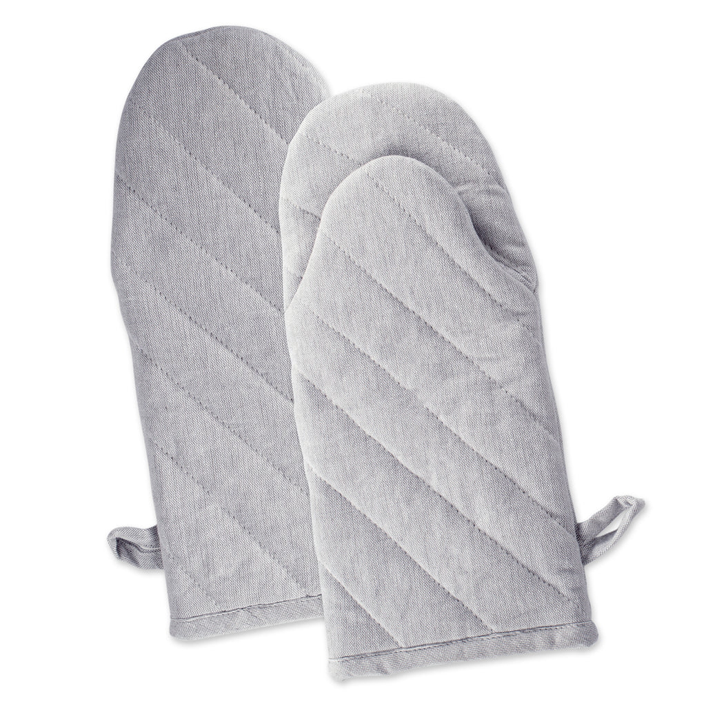 Gray Solid Chambray Oven Mitt Set/2