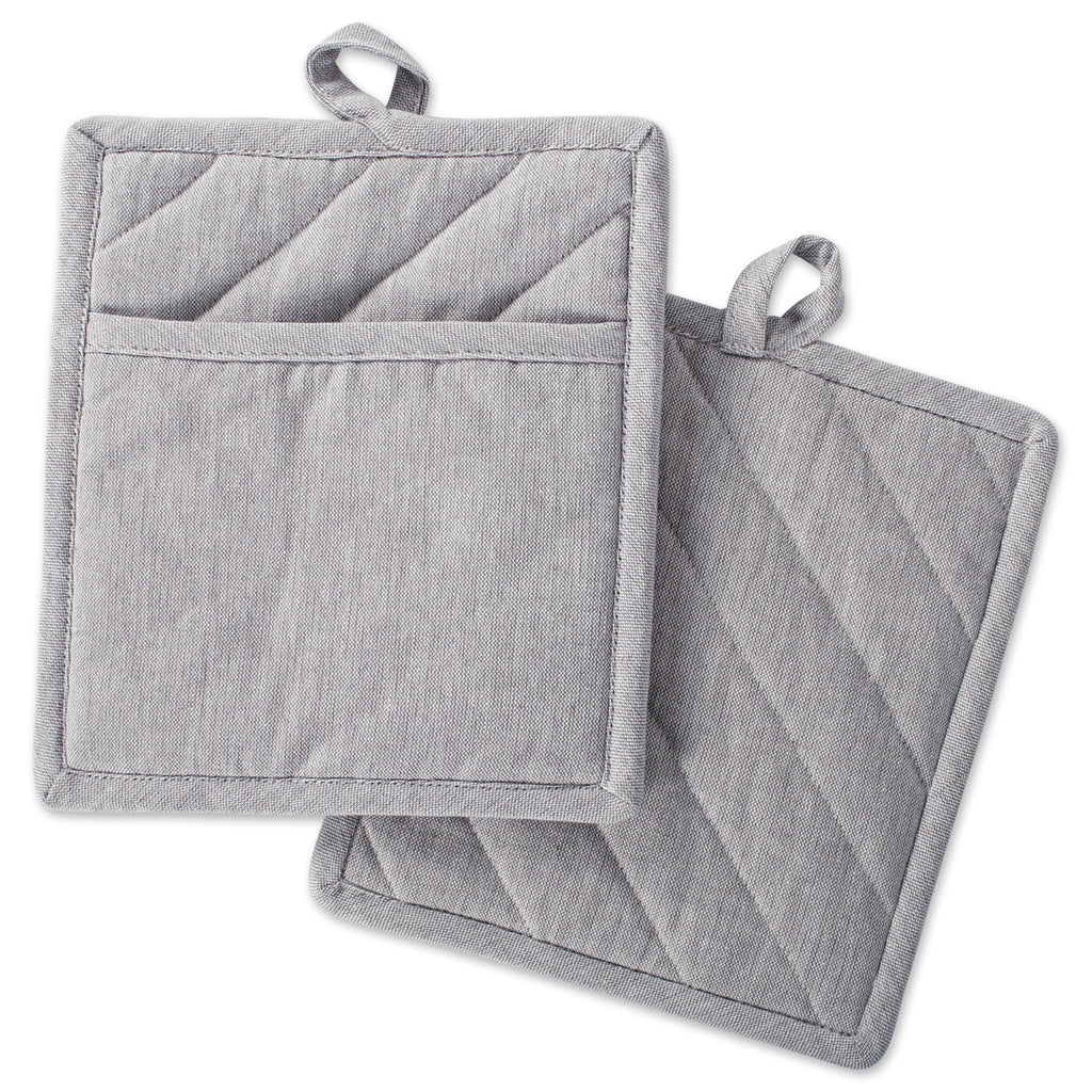 Gray Solid Chambray Potholder Set/2