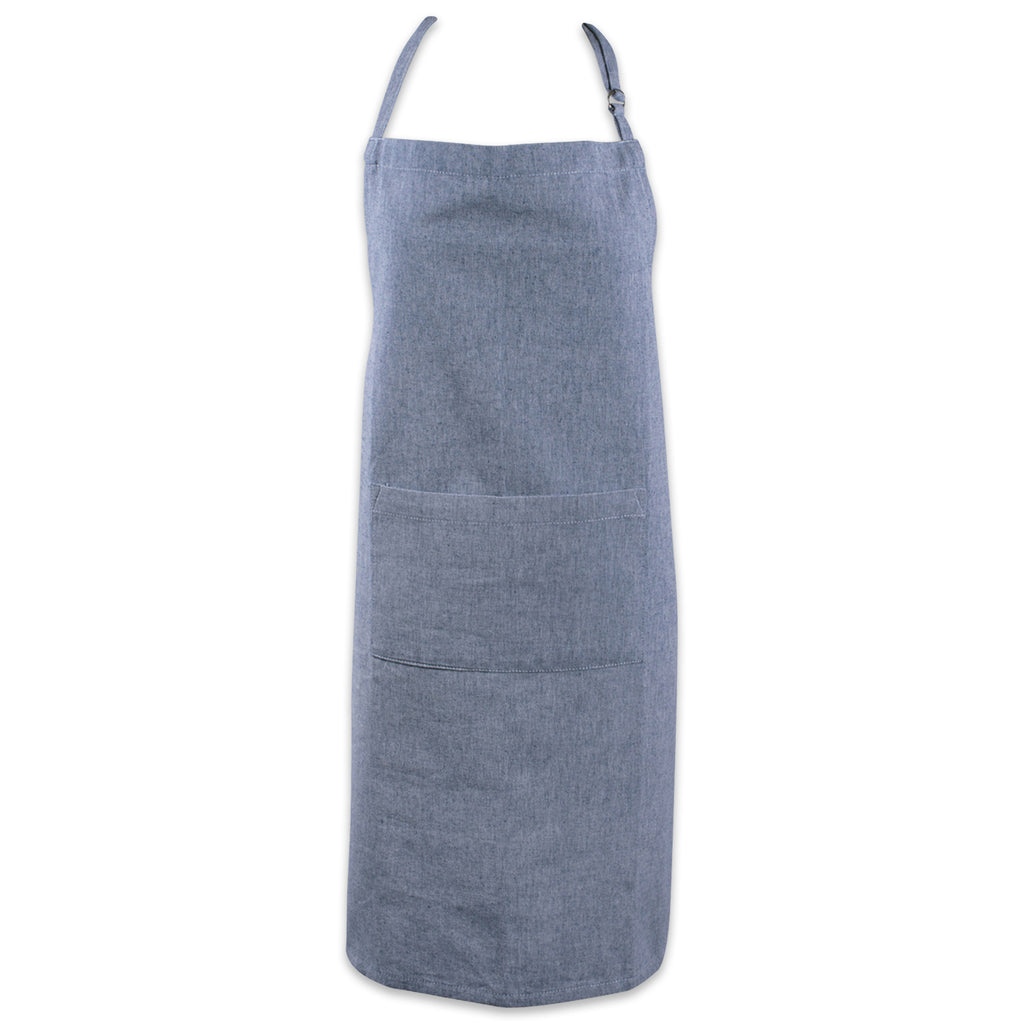 Blue Solid Chambray Chef Apron