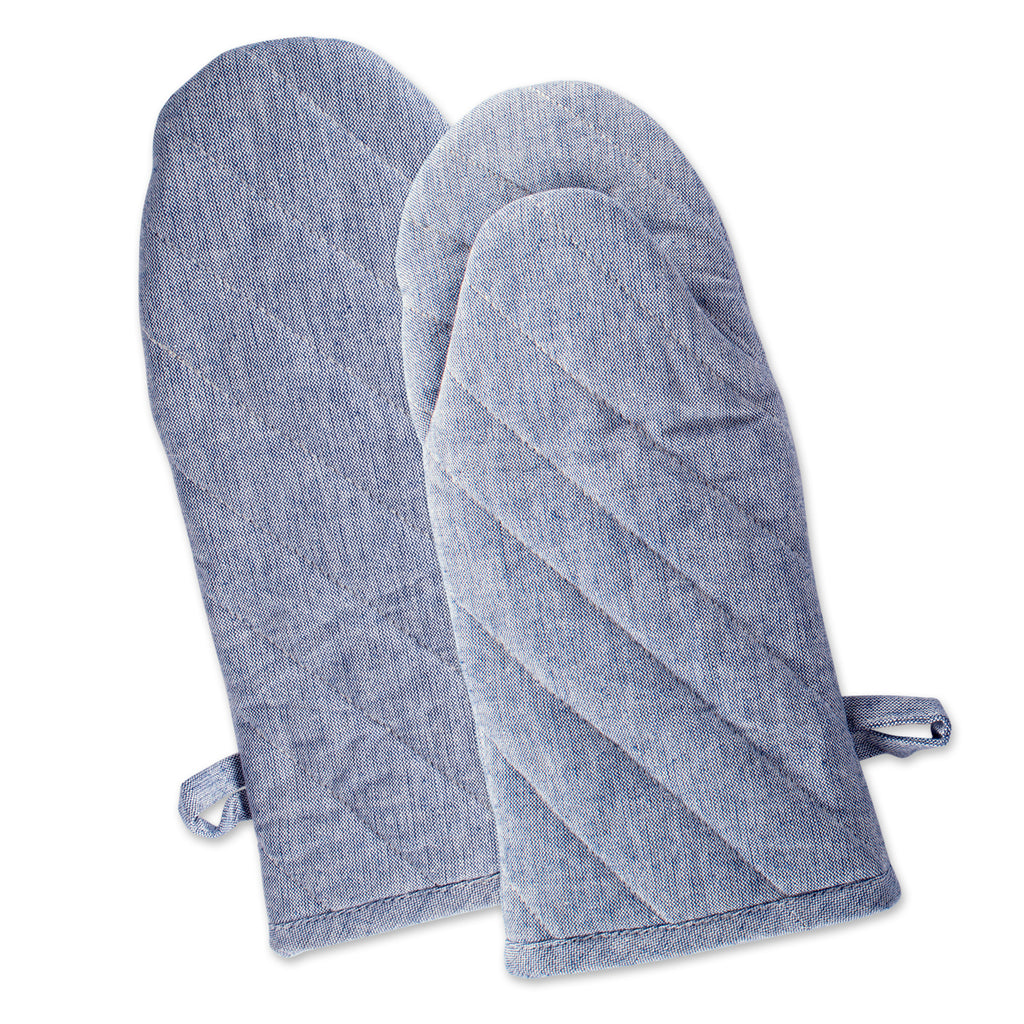 Blue Solid Chambray Oven Mitt Set/2