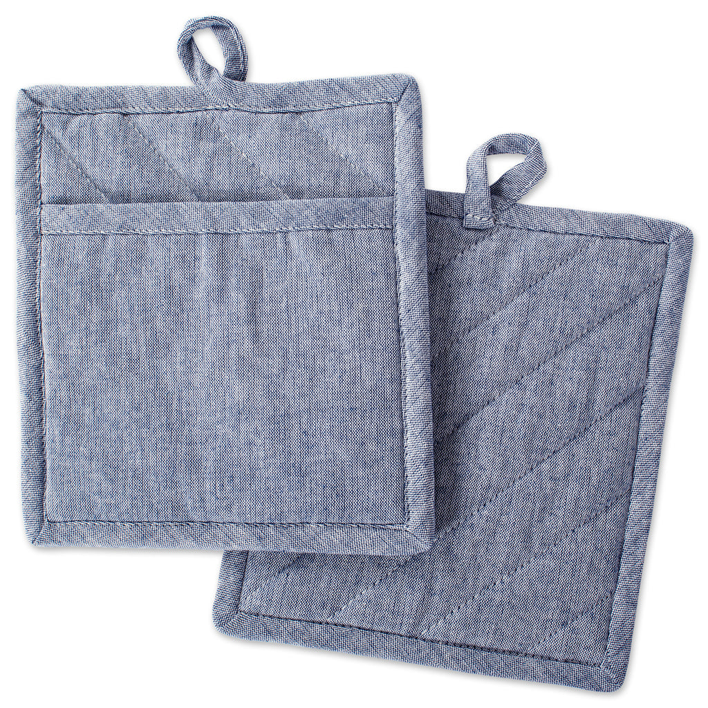 Blue Solid Chambray Potholder Set/2