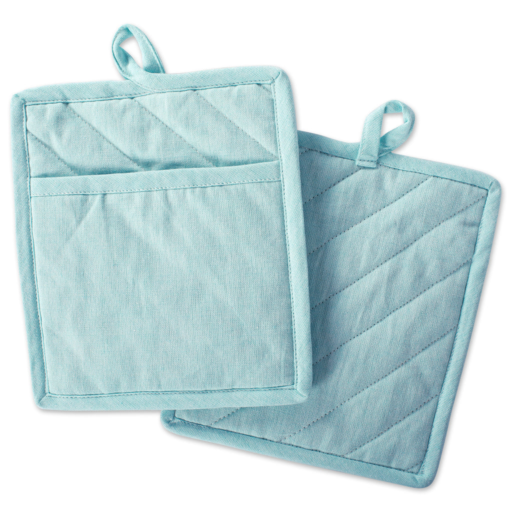Aqua Solid Chambray Potholder Set/2