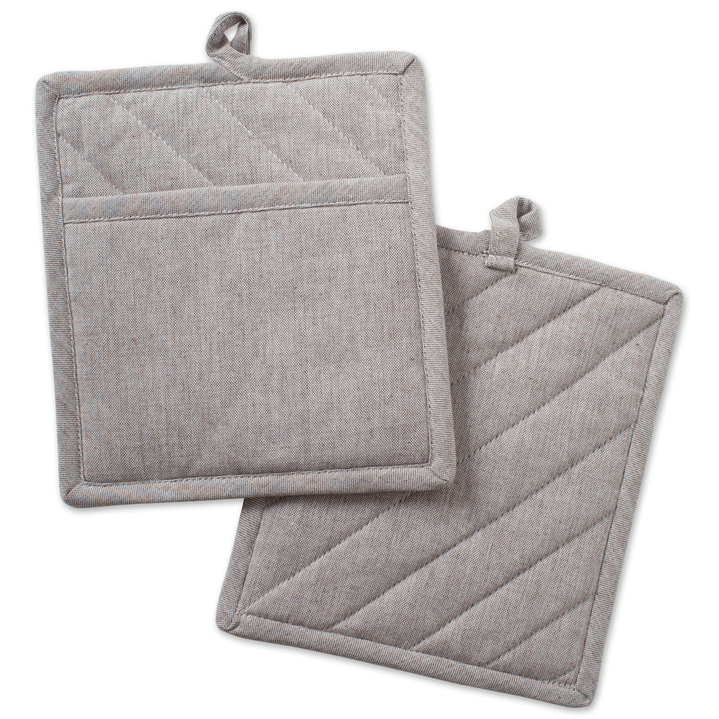 Natural Solid Chambray Potholder Set/2