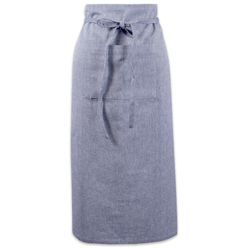 Blue Solid Chambray Bistro Apron