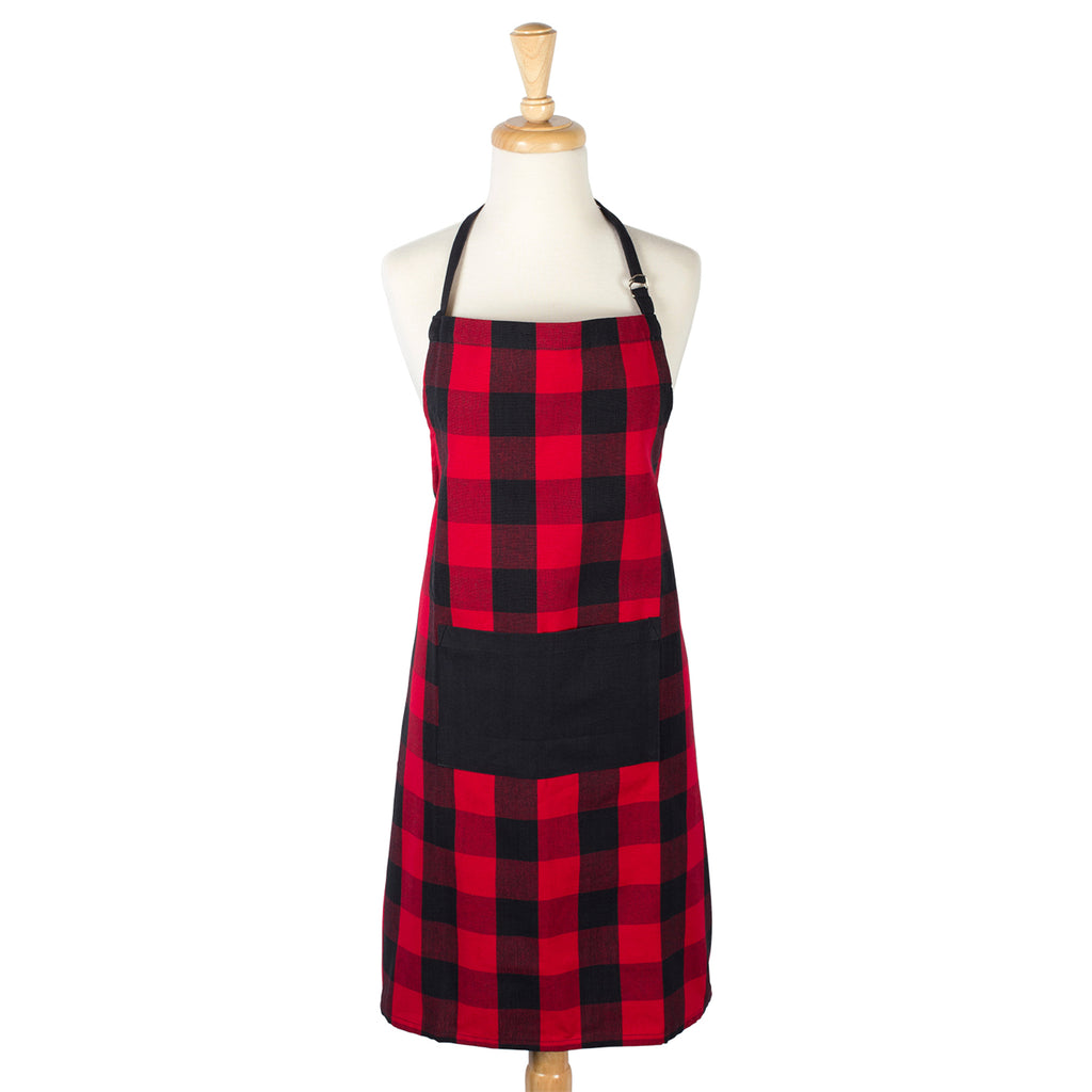 DII Red Buffalo Check Chef Apron