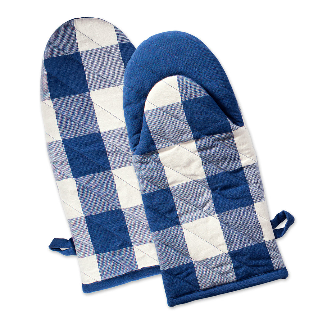 Navy Buffalo Check Oven Mitt Set/2