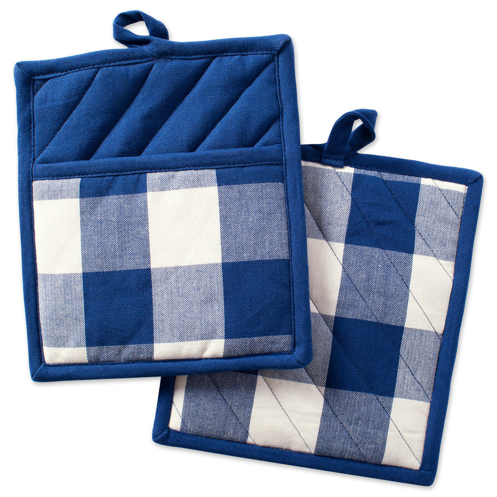 Navy Buffalo Check Potholder Set/2