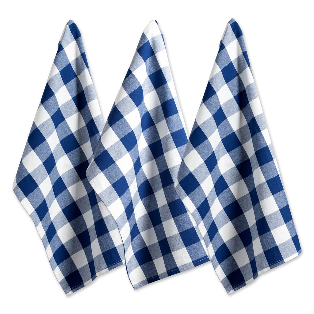 Navy Buffalo Check Dishtowel Set/3