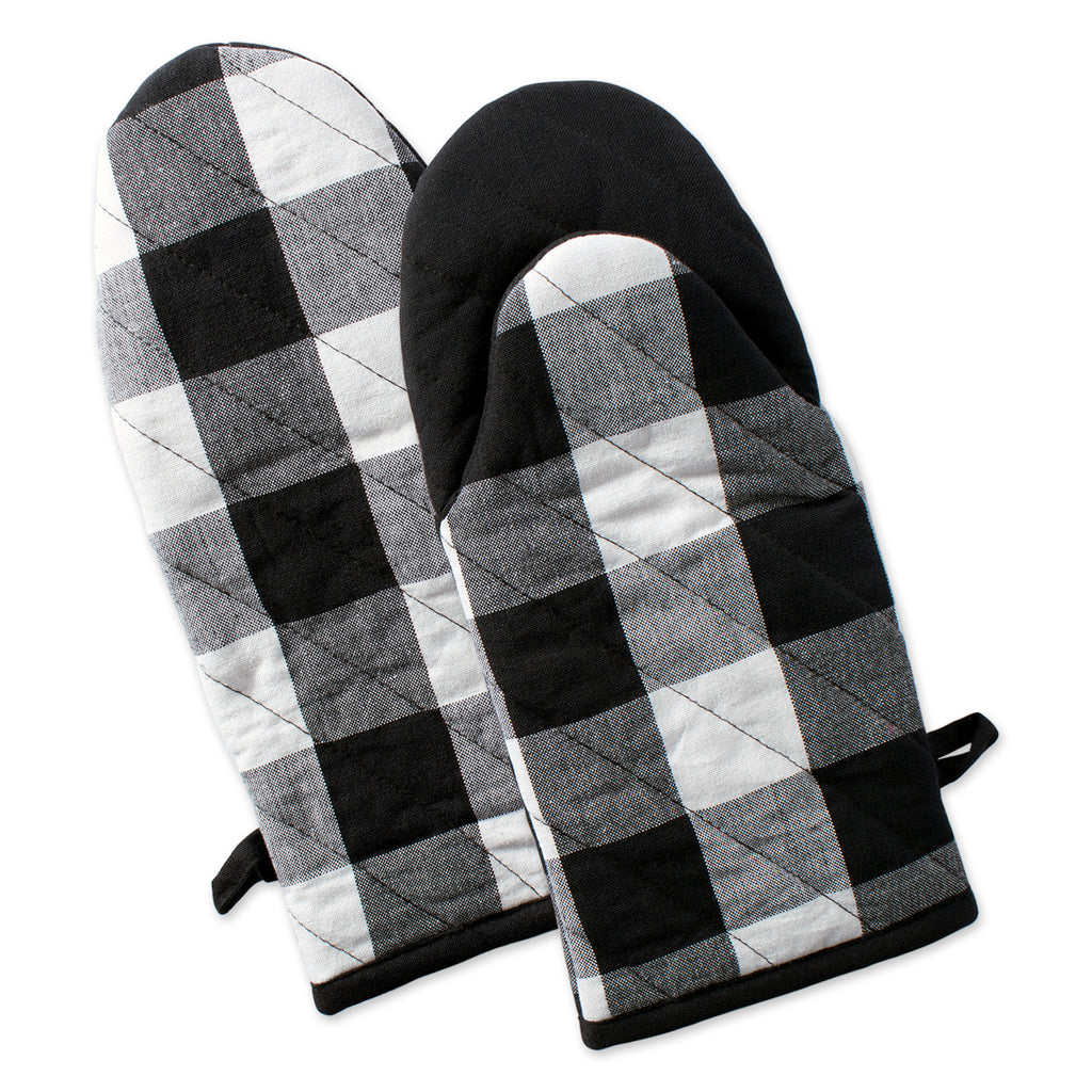 Black Buffalo Check Oven Mitt Set/2