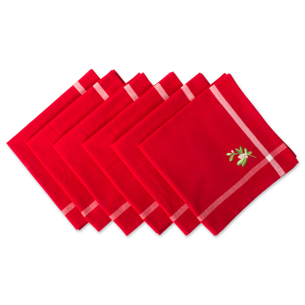 Red Embroidered Mistletoe Corner With Border Napkin Set/6