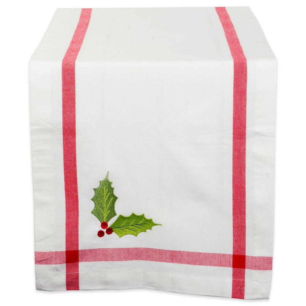 White Embroidered Holly Corner With Border Table Runner 14x108