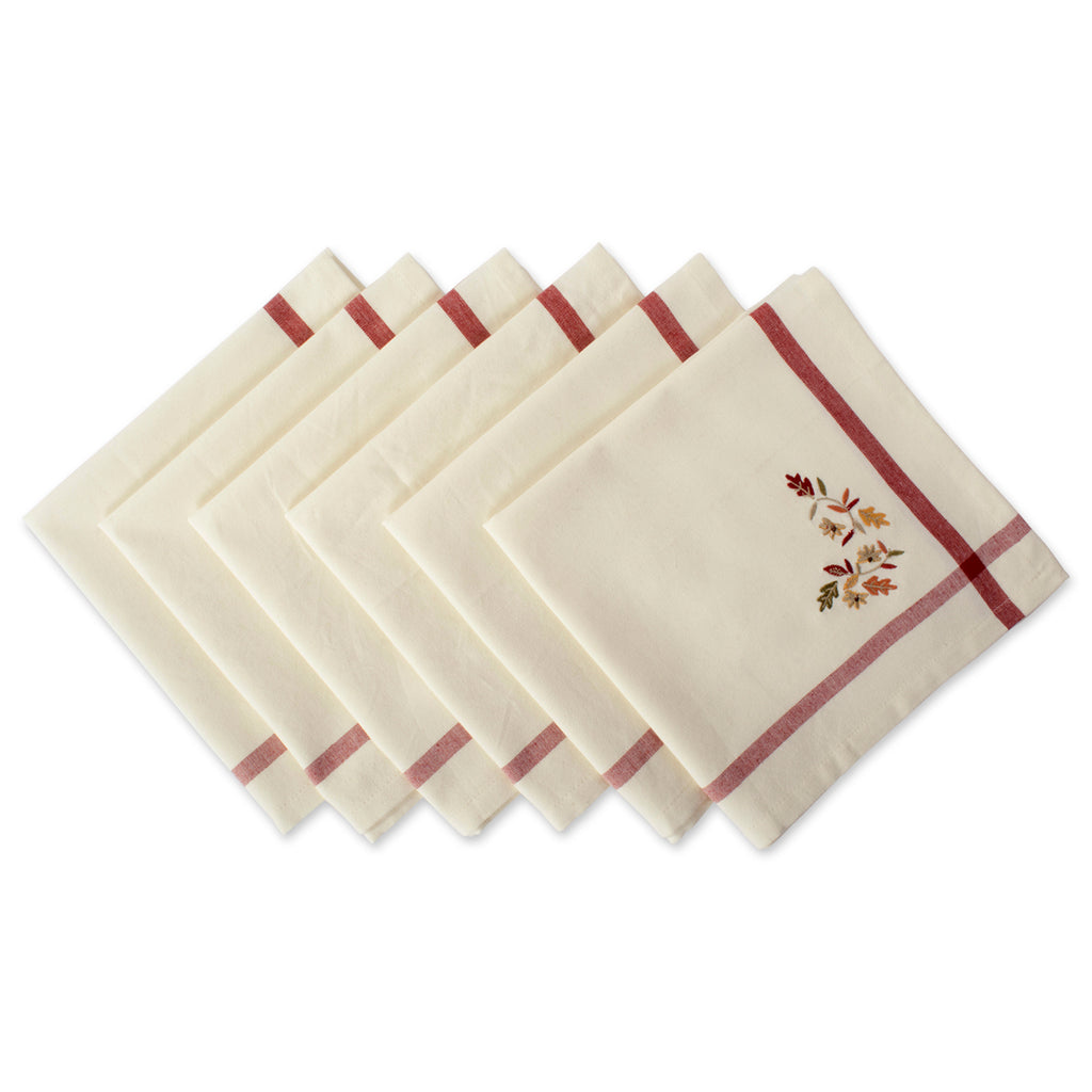 Natural Embroidered Fall Leaves Bordered Napkin Set/6