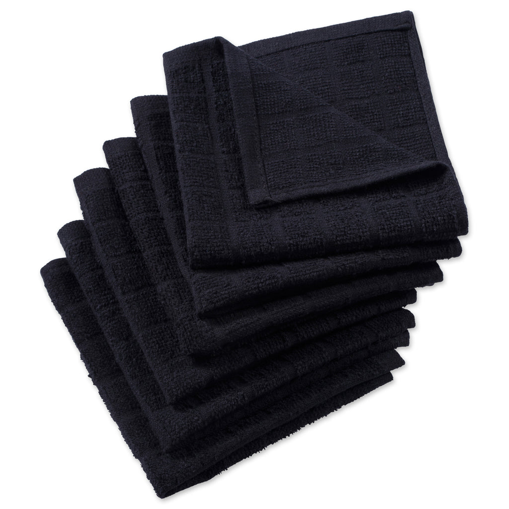 Solid Black Windowpane Terry Dishcloth Set/6