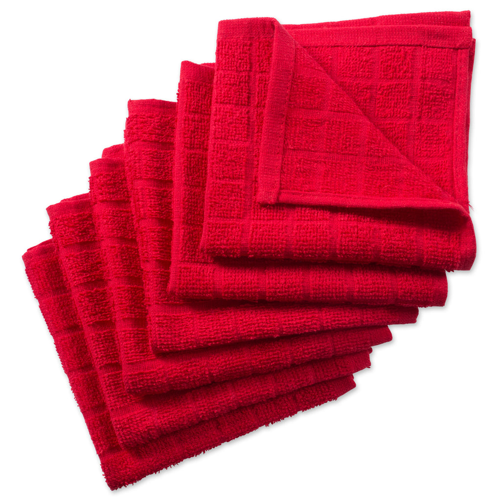 Solid Red Windowpane Terry Dishcloth Set/6