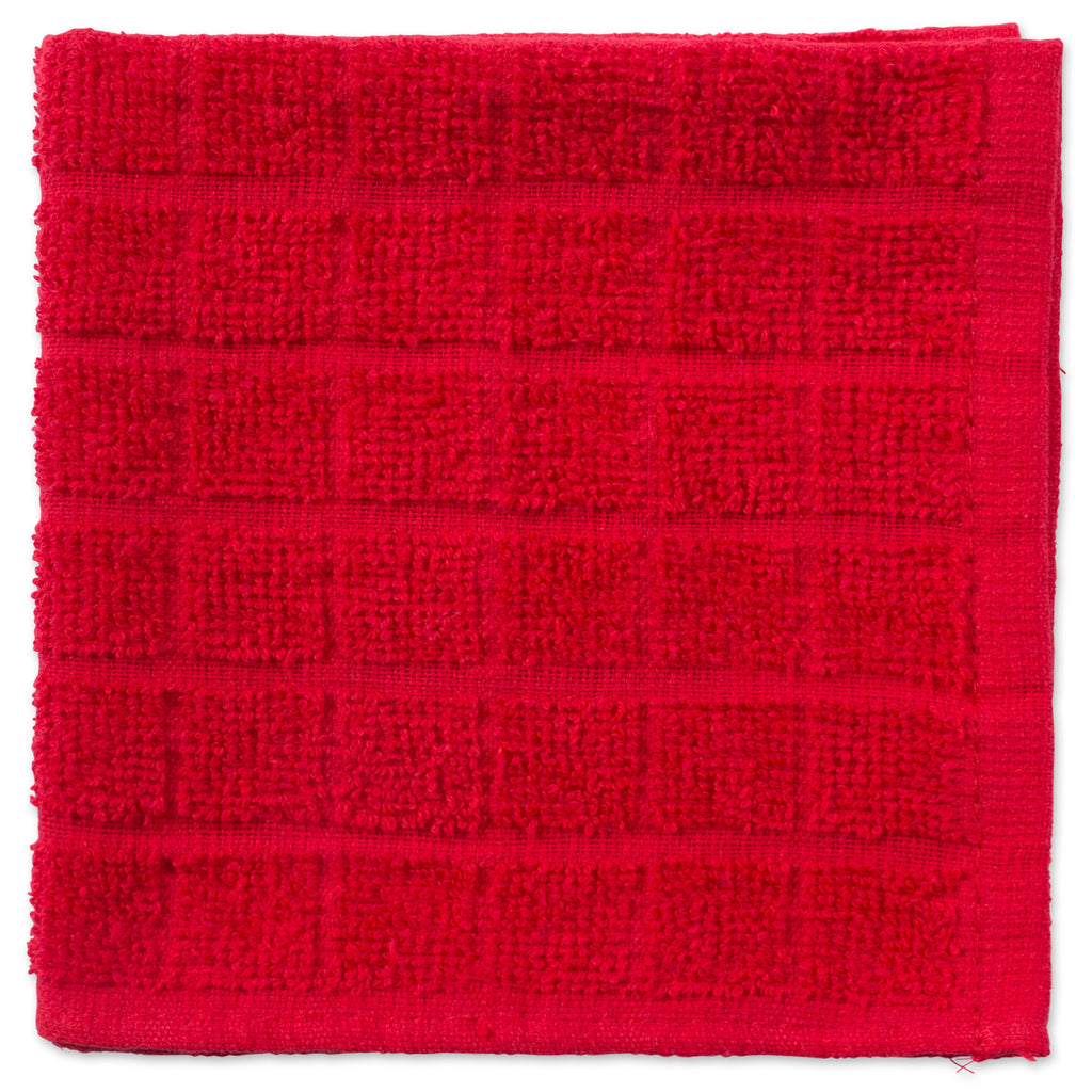 DII Solid Red Windowpane Terry Dishcloth (Set of 6)
