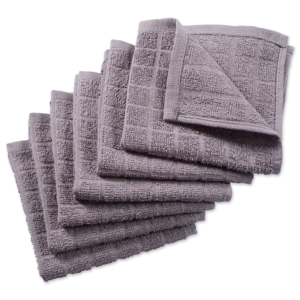 Solid Gray Windowpane Terry Dishcloth Set/6