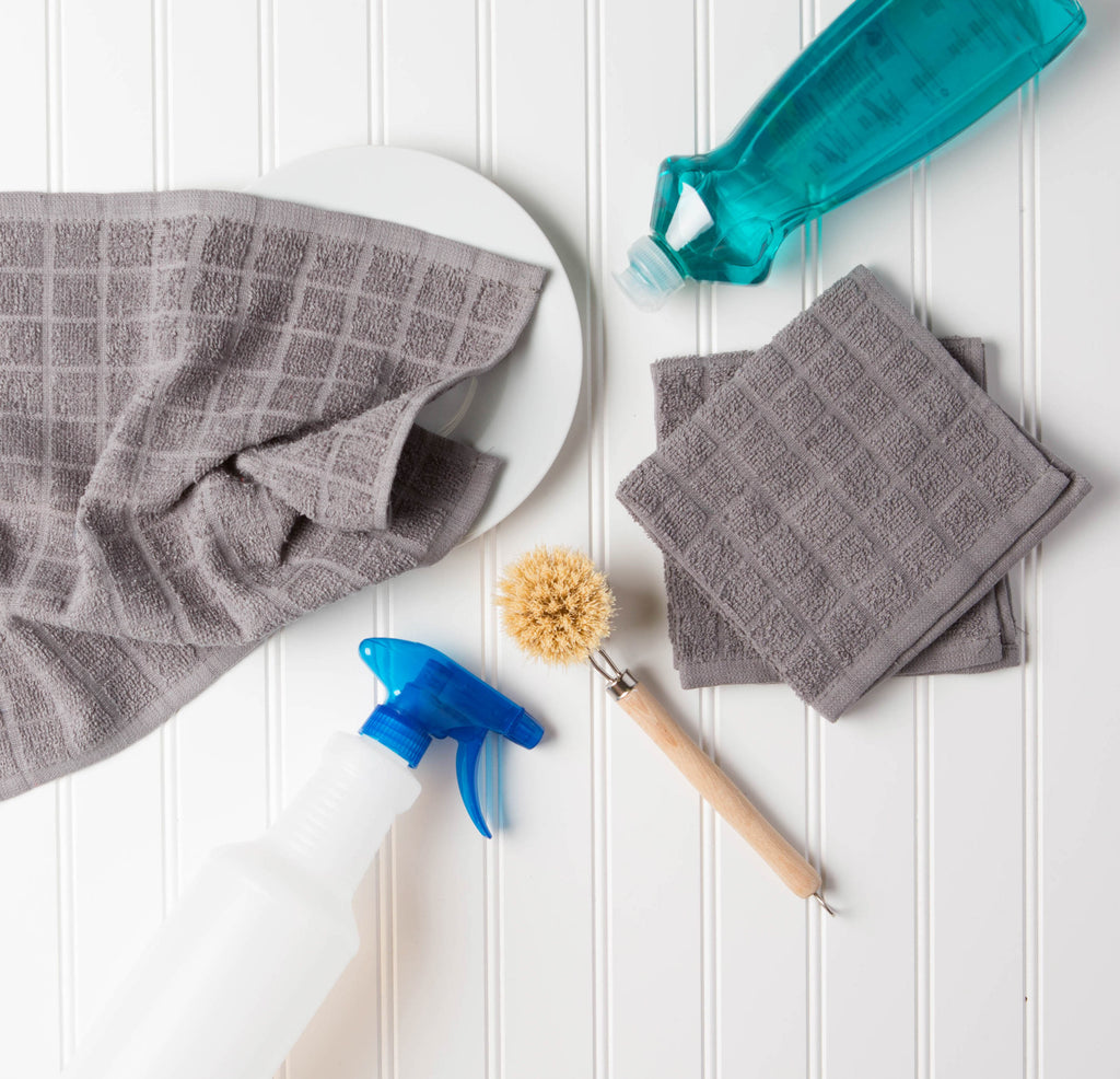 DII Solid Gray Windowpane Terry Dishcloth (Set of 6)