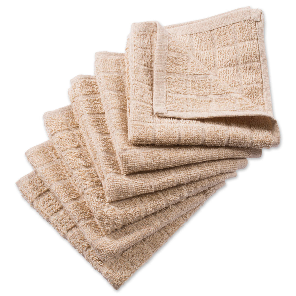 Solid Pebble Windowpane Terry Dishcloth Set/6