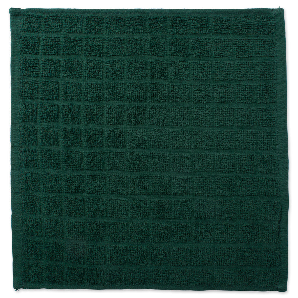 DII Solid Dark Green Windowpane Terry Dishcloth (Set of 6)